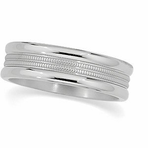 6mm Titanium Comfort Fit Double Milgrain Band, Size 6 by The Men's Jewelry Store
