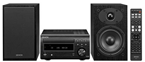 Denon D-M41 Home Theater Mini Amplifier and Bookshelf Speaker Pair - Compact HiFi Stereo System with CD, FM/AM Tuner and Wireless Bluetooth Music | Perfect for Small Rooms and Home Cinema (Renewed)