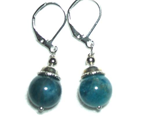 - BLUE APATITE Earrings GENUINE SEMI PRECIOUS GEMSTONE Metaphysical CLARITY PSYCHIC PERCEPTION SELF EXPRESSION Silver Plt