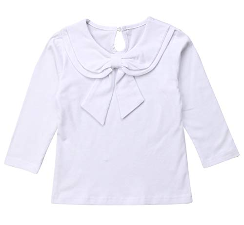 Toddler Kids Baby Girl Cute Bowknot Peter Pan Collar Long Sleeve Basic Plain T-Shirt Tops Clothes (2-3 Years, White)