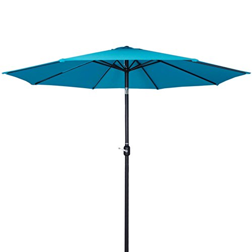 Tourke 10Ft Outdoor Steel Patio Market Umbrella with Push Button Tilt and Crank (Sky blue), 1.9