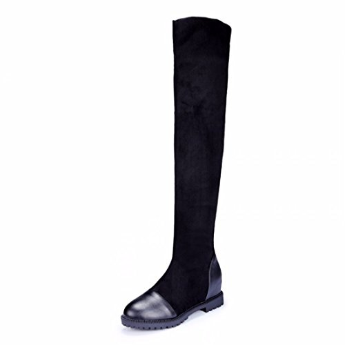Europe slim thigh boots black suede heel Size elastic warm boots Black xkpdyl