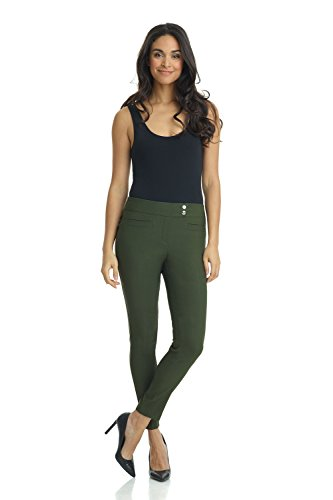 Rekucci Women's Ease in to Comfort Slim Ankle Pant with Snaps (8,Olive)