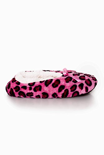 Iconoflash Kvinners Trykte Ballett Stil Tøfler Med Sherpa Fôr Hot Pink Leopard
