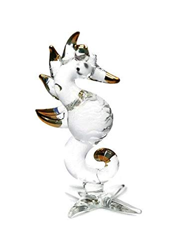 3 D Crystal Toy Gloden Seahorse Hand Bowl Glass Dollhouse Miniatures Decoration