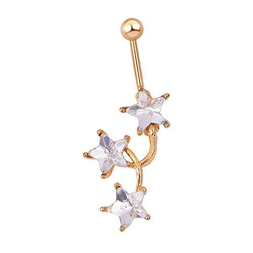 (Aland Women Rhinestone Inlaid Star Belly Button Rings Navel Bar Piercing Body Jewelry)