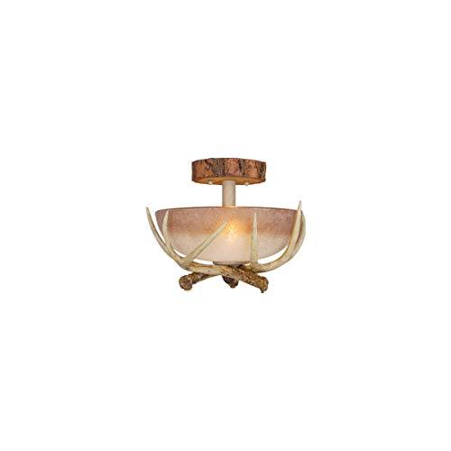 Semi Flush 2 Light Fixtures with Noachian Stone Finish Ploy Resin/Glass Material Medium 12