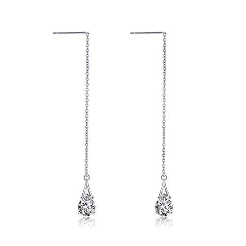 - POPLYKE Threader Earrings Sterling Silver Teardrop Drop Pull Through Threader Earrings with Cubic Zirconia