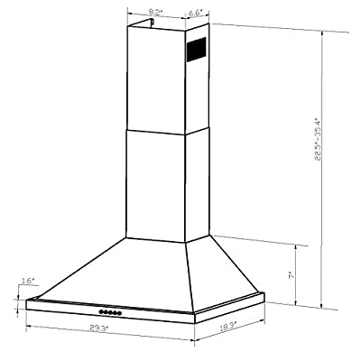"FIREBIRD 30"" Wall Mount Stainless Steel Push Panel Kitchen Range Hood Cooking Fan"