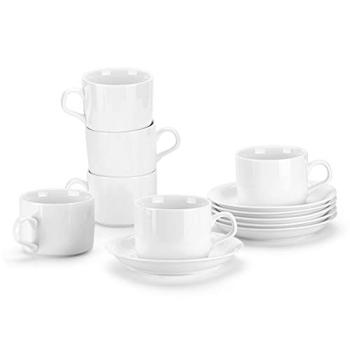 MIWARE 5 Ounce Porcelain Coffee Cups with Saucers - Set of 6, Stackable Espresso Cups, White