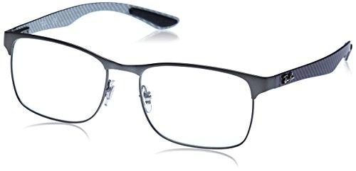 Ray-Ban RX8416 Square Metal Eyeglass Frames, Matte Gunmetal/Demo Lens, 55 -