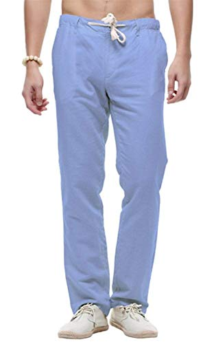 Ampi Lino In Pantaloncini Pantaloni Casual Cotone Spiaggia Da Lunghi Coulisse E Con Comodi Lisci Di Haidean Moderna Blau Uomo P1q8w80