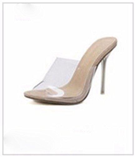 Tacones Transparentes Tacones Sandalias Sexy Mujer Albaricoque y para Finos Genepeg PVC de zHqHpB