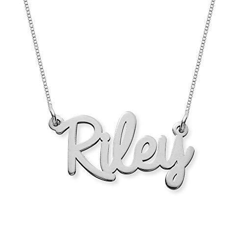 (Personalized Name Necklace Cursive Font Gift- Necklace w/Name Pendant - Custom Made Jewelry! (16.0, 10k White Gold))