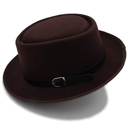 Fur Pork Felt Pie (Men's Fedora Wide Brim Classic Winter Black Male Pork Pie Hat Felt Hats Praty Hat Great (Color : Coffee, Size : 56-58cm))
