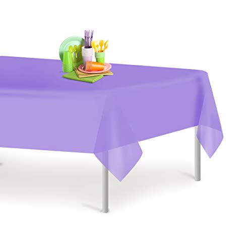 Tablecloth Lavender - Lavender 6 Pack Premium Disposable Plastic Tablecloth 54 Inch. x 108 Inch. Rectangle Table Cover By Dluxware