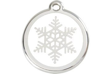 Red Dingo Custom Engraved Dog ID Tag - Snowflake - Medium
