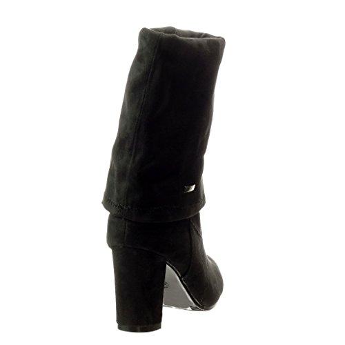 alto Altas Negro Botas mujer Zapatillas 8 cavalier Moda Tacón CM Angkorly de ancho Talón Iavwqc6