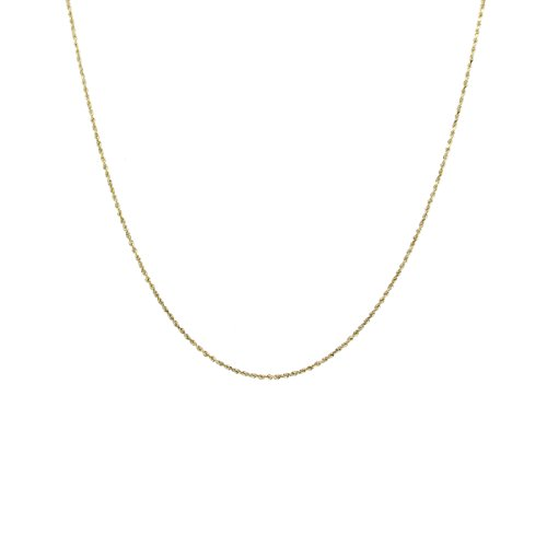 14K Gold 0.8MM Thin Rope Chain Necklace- Available in Yellow, White or Rose-16-24-