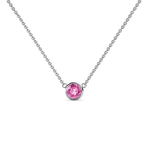 TriJewels Round Pink Sapphire 0.33 ct Bezel Set 4.4mm Womens Solitaire Pendant Necklace 14K Yellow Gold with 16 Inches Gold Chain ()