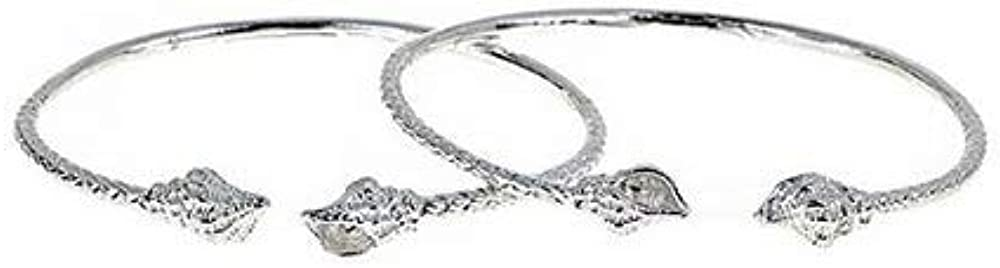 Better Jewelry Shell Ends West Indian Bangles .925 Sterling Silver 28.0 Grams (Pair) (Made in USA)