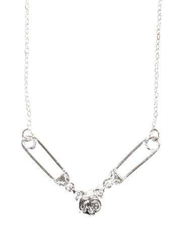 Magic Metal Tiny Panda Head Necklace Teddy Silver Tone Safety Pins NO36 Fashion Jewelry