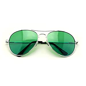 VW Eyewear - Colorful Silver Metal Aviator With Color Lens Sunglasses (Green lens)