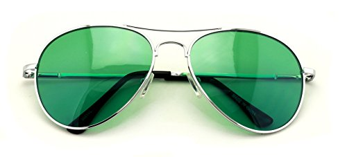 VW Eyewear - Colorful Silver Metal Aviator With Color Lens Sunglasses (Green - Green Glasses