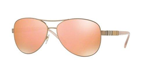 Burberry Women BE3080 59 Gold Matte/Brown Sunglasses - Burberry Gold