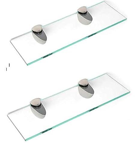 Estantes de cristal endurecido de 6 mm de grosor con gran acabado cromado 500 mm y 400 mm soporta 600 mm 400mm x 150mm BSM Marketing