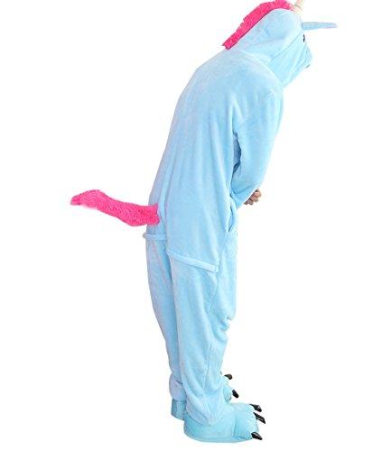 Duraplast Animal Costume Onesie Pajamas Warm Fleece Unicorn Horse with Tail (Blue,M)