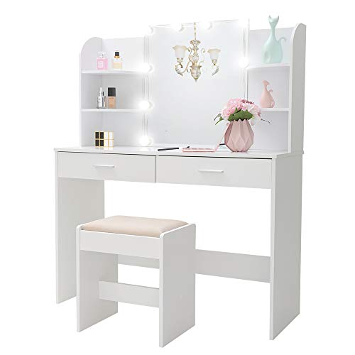 Large Vanity Set with 10 Light Bulbs, Makeup Table with Cushioned Stool, 6 Storage Shelves 2 Drawers, Dressing Table Dresser Desk for Women, Girls, Bedroom, Bathroom, White YSZT001WD (Table Dressing Small Vanity)