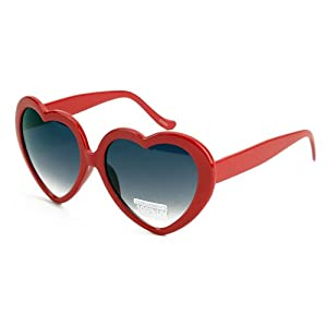 Free S&H Sunglasses - Costume Party Heart Shaped Sunglasses in Black (7920RED)