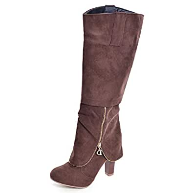 Amazon.com | Hee grand Women's Zipper Winter Boots | Knee-High