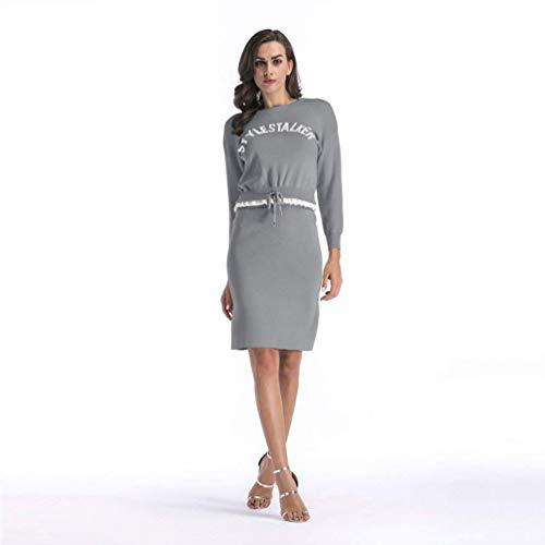 Shirt Shirt Shirt Grigio Albicocca FuweiEncore Aderente Aderente Aderente Gonna Large Dimensione Autunno Lunga con Stampa Manica T Colore 5xfOg