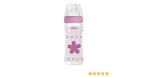 Chicco Wellbeing Biber/ón antc/ólicos con tetina de silicona y flujo r/ápido para beb/é 4m+ color rosa 330 ml