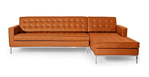 Kardiel Florence Knoll Style Right Sectional Sofa, Caramel 100% Full Premium Leather
