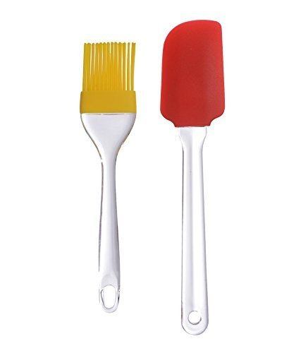 Inditradition Barbecue Silicone Brush & Spatula Combo, Perfect For Barbecue BBQ Cooking (Multi-Color)