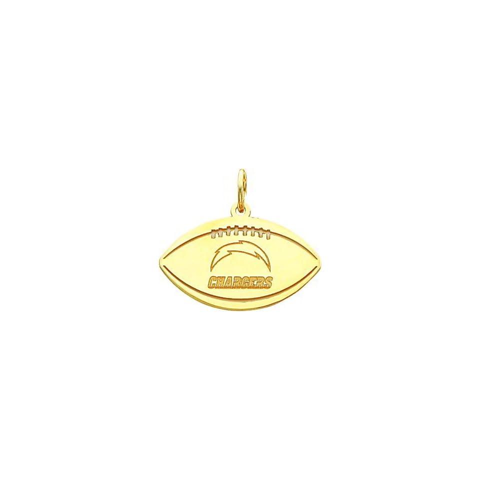 14K Gold NFL San Diego Chargers Logo Football Charm