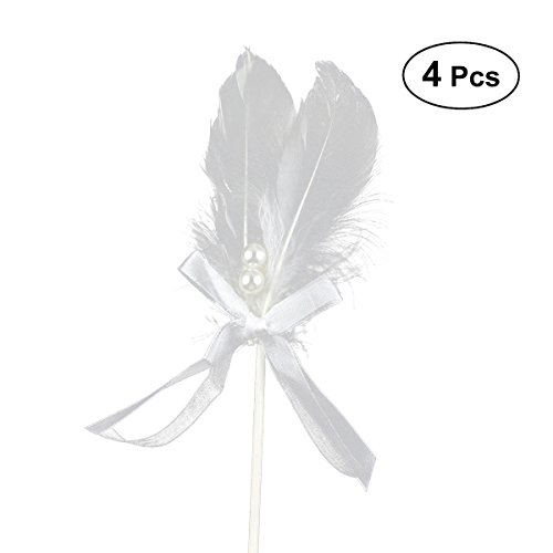 4Pcs Feather Cake Insert Cupcake Toppers Decoration for Wedding Birthday Party Dessert ()