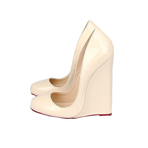 Prom Alto Zapatos Sexy 9 Artificial Negro EUR41UK758 Rojo Cuña 43 Nuevo Dressy Verano Impermeable Tacón UK Super de NVXIE Mujeres APRICOT Primavera EUR PU Discoteca Otoño xfX8qgU