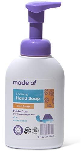 MADE OF Organic Soap Foaming - EWG Verified & Rated 1 - Dermatologist and Pediatrician Tested For Sensitive Skin and Eczema - Made in USA - 10oz (Sweet Orange, 1-Pack)