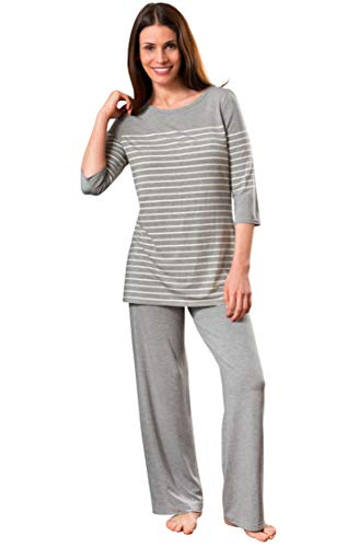 Shadowline Women's Before Bed Modal Lounge Pajama Set, Heather Gray Stripes, Large