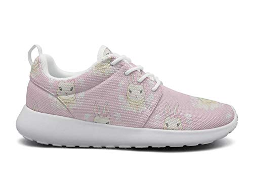for Women Ultra Lightweight Breathable Mesh Athleisure Sneakers Cute Cartoon White Bunny Pink Fashion Walking Shoes -
