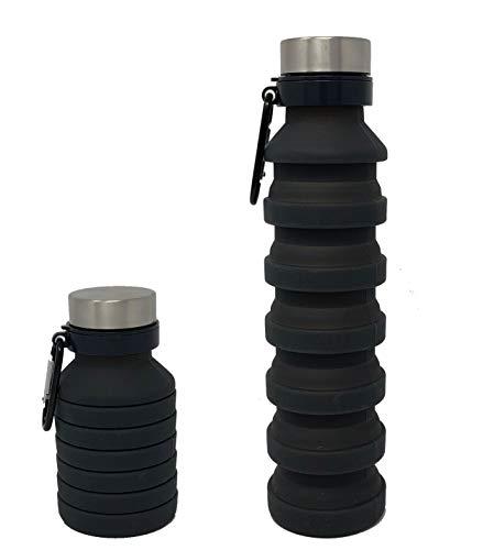 (Herringbone Collapsible Water Bottle - BPA Free, Lightweight, Eco-Friendly - 20oz (Black))