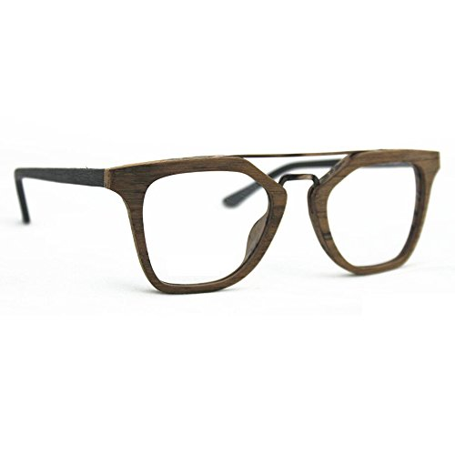 TIJN Mens Stylish Woodgrain Eyeglasses Frame Faux Wooden Glasses (D, - Eyeglass Frames Wooden