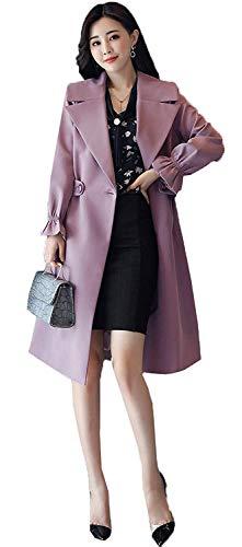Trench Femme Longues Fashion Revers Long Manches Manteau De Transition Slim Fit Moderne lgant Unicolore Style des Femmes Style breal Exquis Manteau Outerwear Printemps Automne Lilas