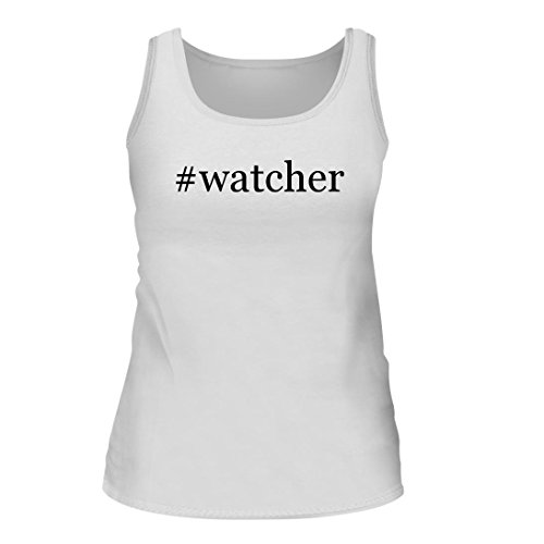 #watcher - A Nice Hashtag Women's Tank Top, White, Large (Sprayer Watchers Weight Oil)
