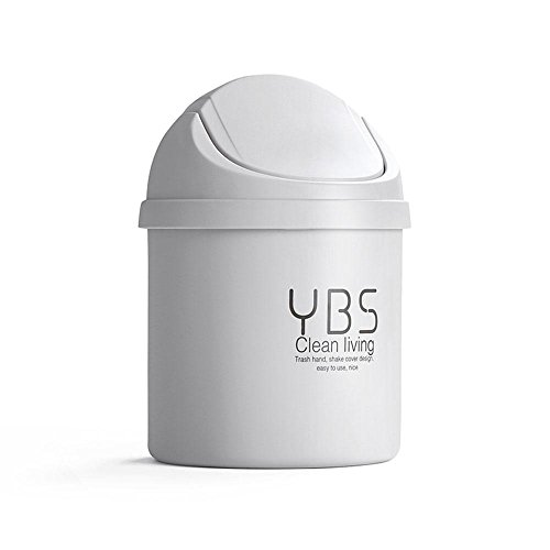 Aolvo Tiny Desktop Garbage Can,Tiny Trash Can with Lid, Plastic Mini Small Cute Dustbin Desktop Garbage with Swing Lid,Round Small Trash Can Mini Waste Trash Can for Study Dressing Table