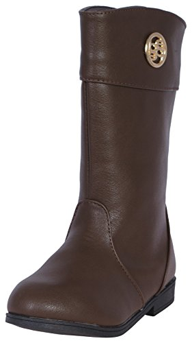 Price comparison product image Bebe Girls Riding Boots with Bebe Medallion, Brown, Size 5'